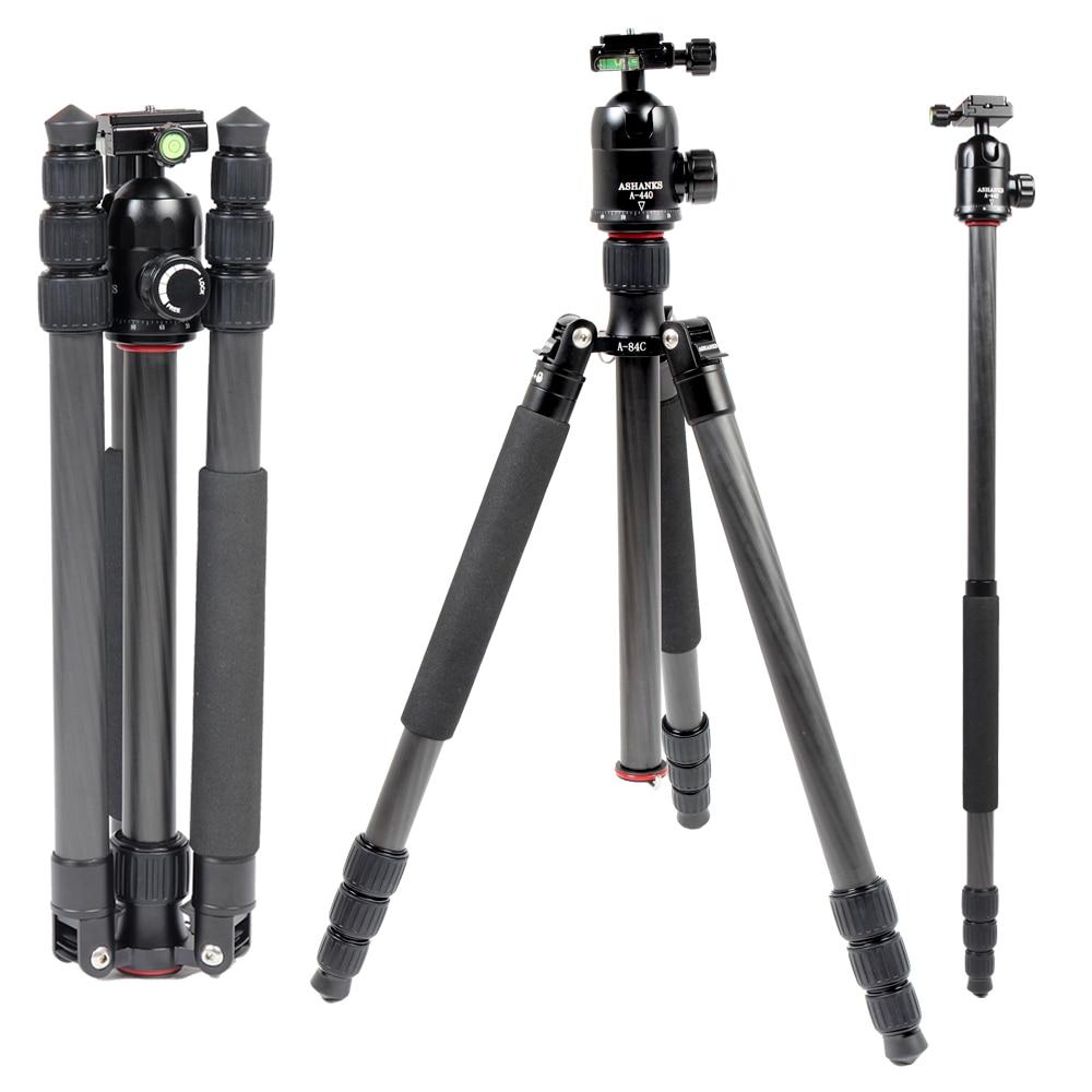 ASHANKS A84C Loading 15KG Carbon Fiber  Portable Tripod with Ball Head Compact Travel for Canon Sony Nikon Cameras  Video Camera ashanks mini carbon fiber handheld