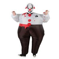 Inflatable Evil Scary Clown Suit Air Blown PU Halloween Party Costume Dressing