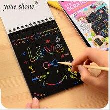 1 шт. мини-книги для рисования царапин Цвет DIY катушки граффити книга с ручкой пустой черный эскиз книга для детей