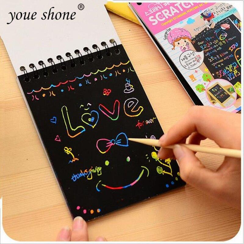 1 adet Mini çizim kitapları çizik renk DIY bobin grafiti kitap kalem ile boş siyah eskiz defteri çocuk için