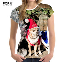 FORUDESIGNS 3D Cute Dog T Shirts Brand Women Summer Tops Tees Print Animal T Shirt O