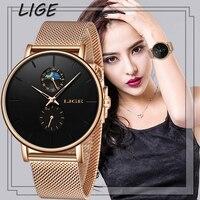 LIGE  женские часы  Лидирующий бренд  Роскошные водонепроницаемые часы  модные женские ультра-тонкие повседневные наручные часы из нержавеющ...