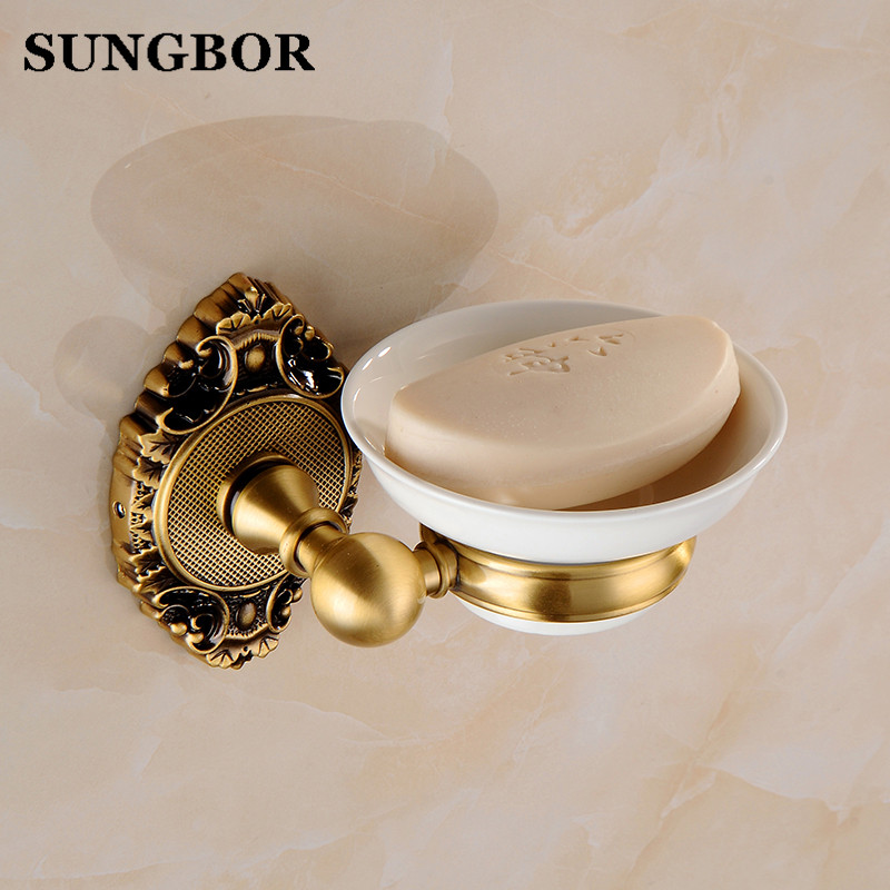 High Quality Solid Brass Soap Dishes For Showers Shower Soap Holder Wall Mounted Antique Bronze Bathroom Accessories SH-9603F free shipping solid brass orb oil rubbed bronze bath form bathroom holder soap dishes wall mounted holder rack