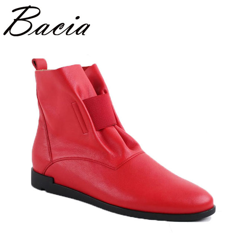 Bacia Fashion Solid Ladies Flats Ankle Boots Casual Handmade Leather Shoes With Elastic Band Blue Black Red Colors Boots VC024 armoire hot sales black yellow red brown gray flats women slouch ankle boots solid ladies winter nude shoes aa 3 nubuck