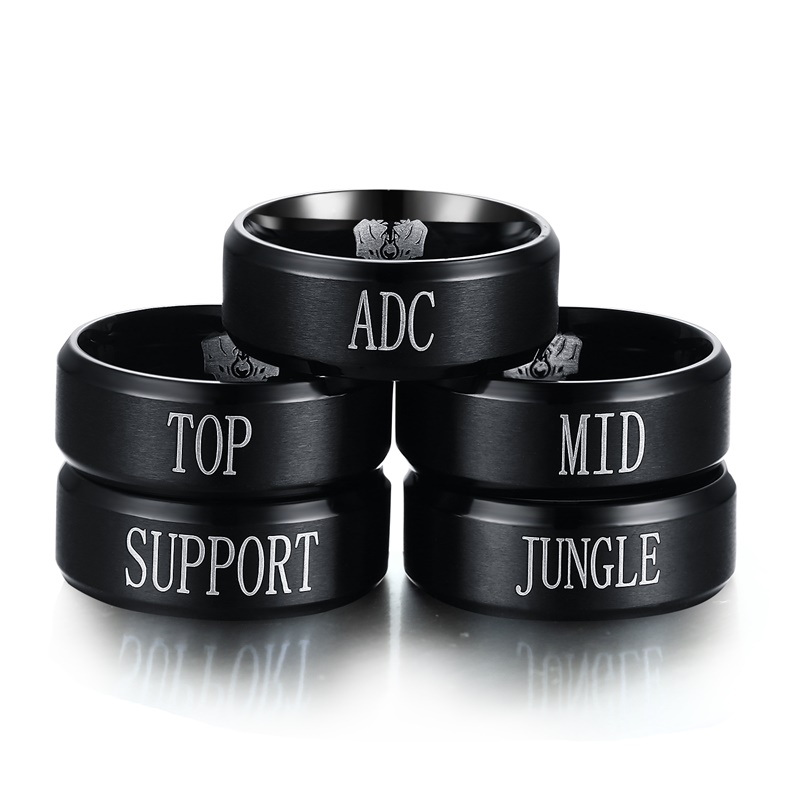 5PCS Mens Team Game Rings Stainless Steel League of Legends LOL Ring,Top Jungle Adc Mid Support Men Black Fashion Jewelry цены онлайн