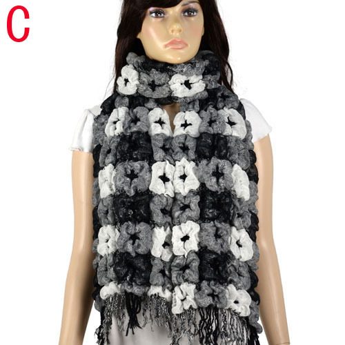 AOLOSHOW Winter scarf Necklace for Women Plaid pattern thick Bubble scarf wraps flower winter warm bubble scarves NL-1950