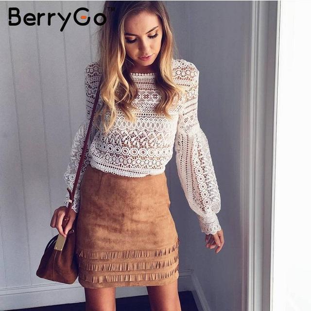 BerryGo 2017 retro tassel suede leather pencil skirt – high waist slim mini skirt