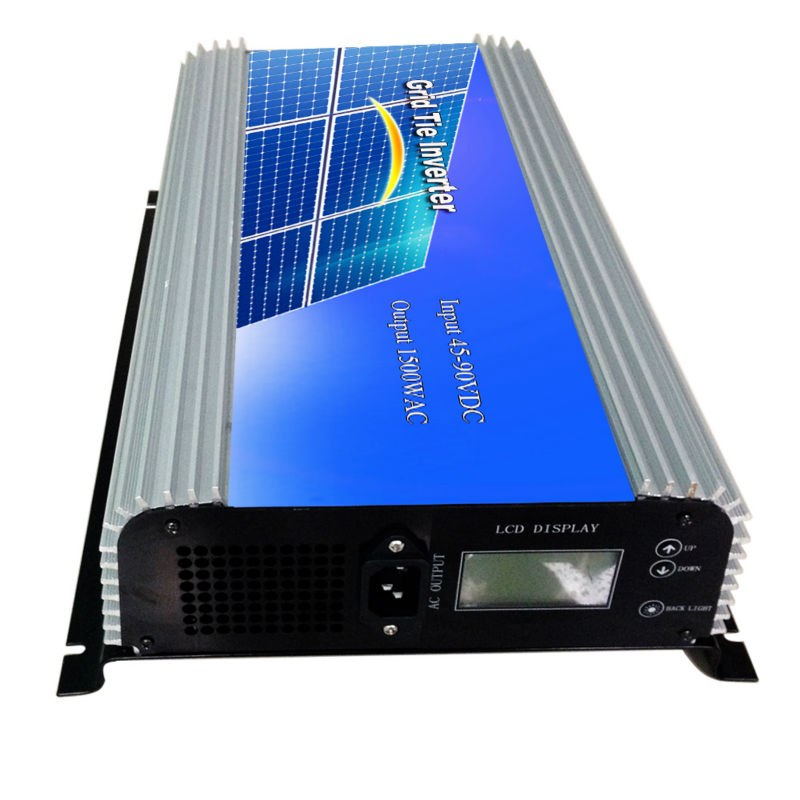 MAYLAR@ 1500W Grid Tie Power Inverter Pure Sine Wave Inverter 45-90V DC to AC 220VAC Solar Grid Tie Inverter with LCD Display 1kw solar grid tie inverter 12v dc to ac 230v pure sine wave power pv converter