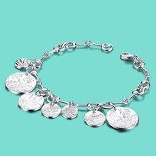 171599d95e7c Nueva muchacha 925 plata esterlina pulsera patrón circula diseño sólido  joyería de plata pulsera de plata señora pulsera popular