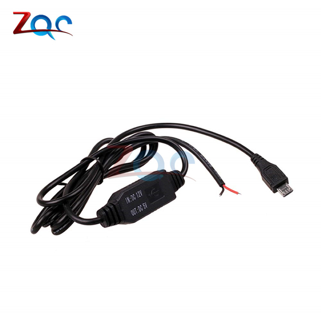 DC-DC 12V to 5V Inverter Converter Micro Mini USB Hard Wired Car Power Charger for GPS Tablet Phone PDA DVR Recorder Camera 3M