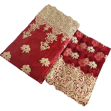 2019 gold red lace beaded African guinea brocade fabric african bazin riche top quality nigerian gele headtie 5+2yards/lot