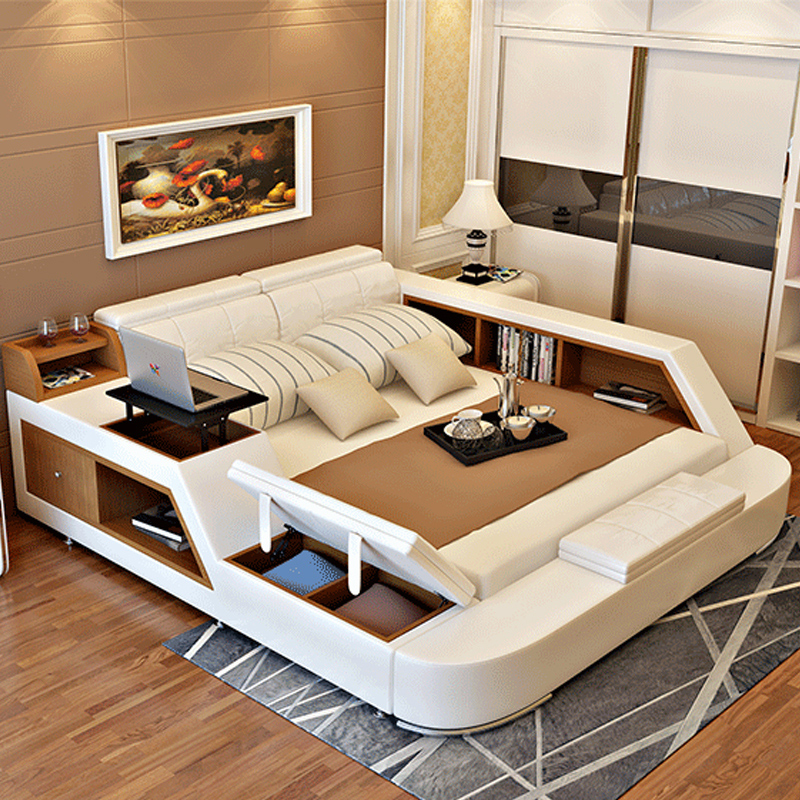 Modern Leather Queen Size Storage Bed Frame With Storage Bookcase Cabinets Stool No Mattress Bedroom Furniture Sets B02q