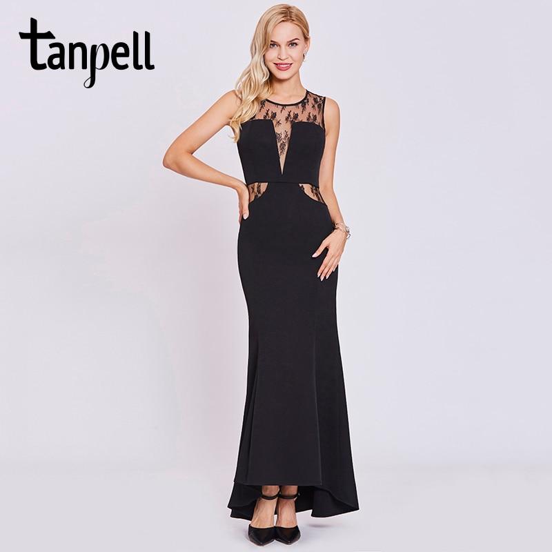 Tanpell mermaid hosszú estélyi ruha fekete csipke lapát ujjatlan padló hosszú ruha olcsó női chiffon prom hivatalos estélyi ruhák