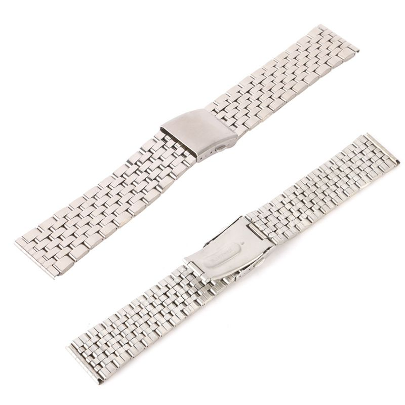 Stainless Steel Metal Strap Silver Watch Band Unisex Bracelet Double Fold Deployment Clasp Watch  Buckle18 20 22mm Female