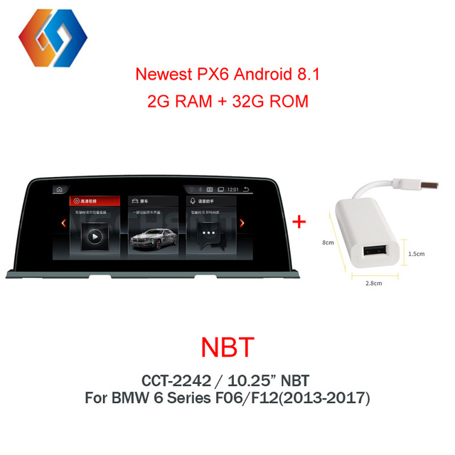 """10.25"""" Android 8 Multimedia 1 Din For BMW 6 Series 2012-2017 NBT Car GPS Navigation 4G Radio BT WiFi Multi-Point Touch Screen 42"""