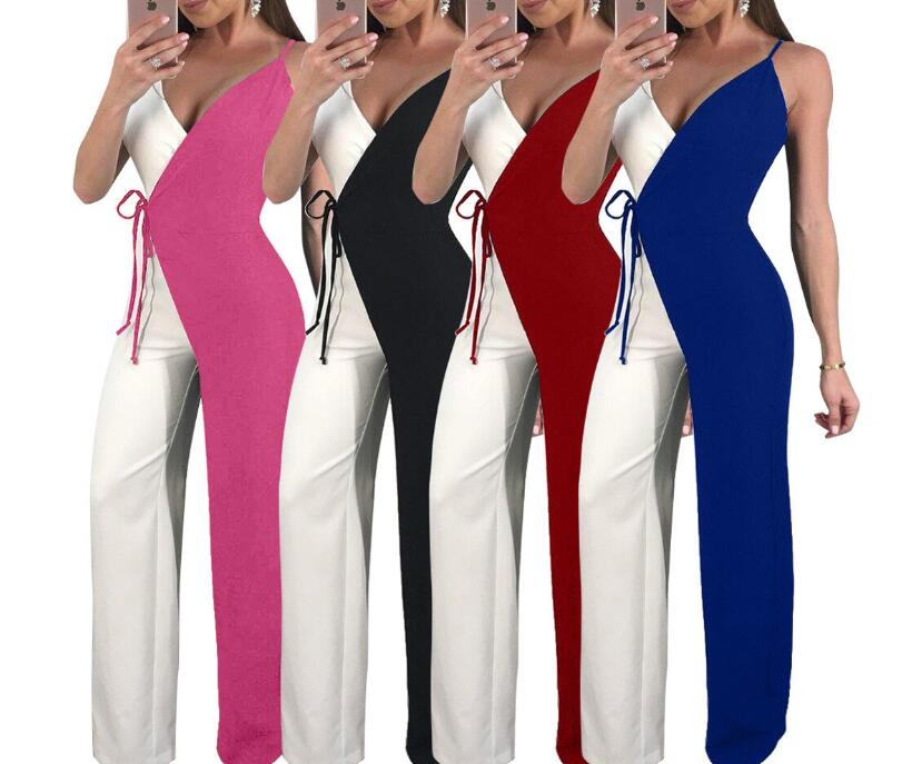 Sexy V Neck Sling Bandages Long Boot Cut Jumpsuit Long wide leg pants Loose Backless Jumpsuits Women Plus Size Vacation Playsui