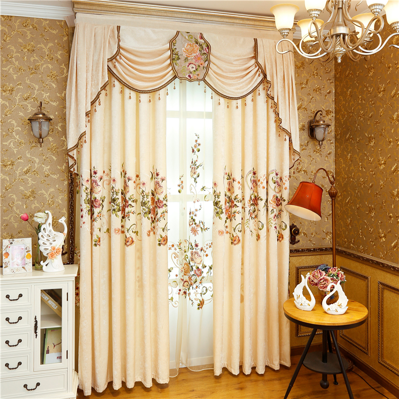 Купить с кэшбэком HOT Chinese Style Royal Luxury Embroidered Blackout Curtains For Living Room Embroidered Voile Curtains Window Curtain Bedroom