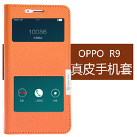 3 Colors New For OPPO R9 Phone Case Genuine Leather Cow Skin Flip Cover Free Shipping For OPPO R9 5.5'' Magnet close View window
