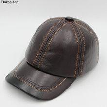 Primavera cuero genuino de la vaca hombres sombrero gorra de béisbol nuevo  estilo de invierno cálido caps sombreros hombre enemi. 34dffe9b152
