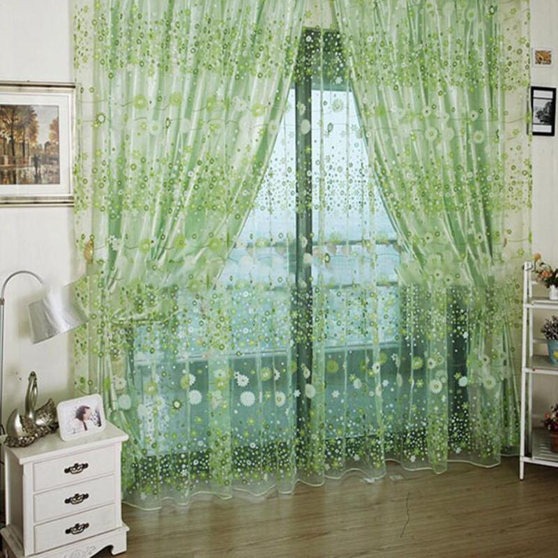 1*2M Flowers Pattern Tulle Sheer Window Curtains Living Room Kitchen Divider Valance Panel Window Treatment Screening Voile