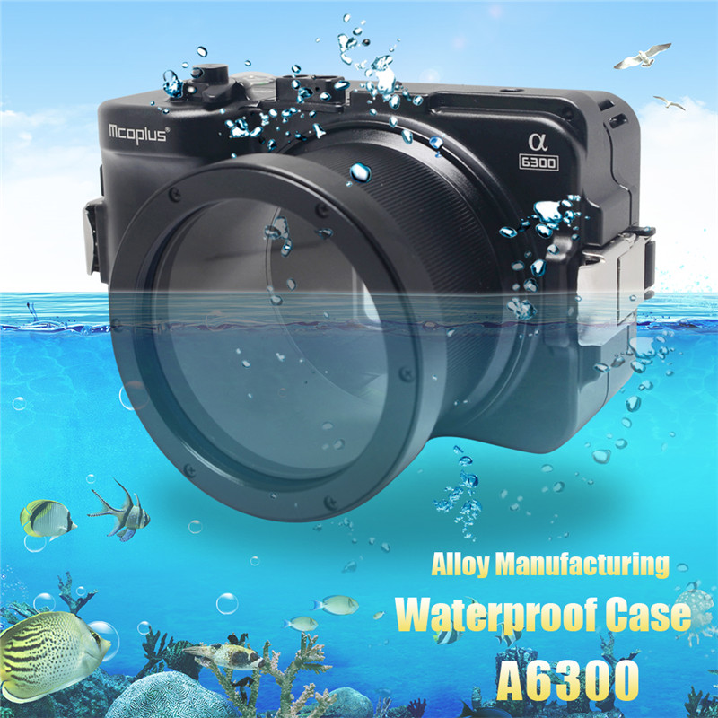 Mcoplus for Sony A6300 Camera Waterproof Case 100M/325ft Alloy Manufacturing Underwater Camera Diving Housing Bag mcoplus for sony a7ii a7 mark ii camera waterproof case 100m 325ft alloy manufacturing underwater camera diving housing bag