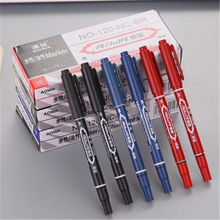 Blue Red double marker Small Double-Headed Marker Water-Based Fine Head Express Pen