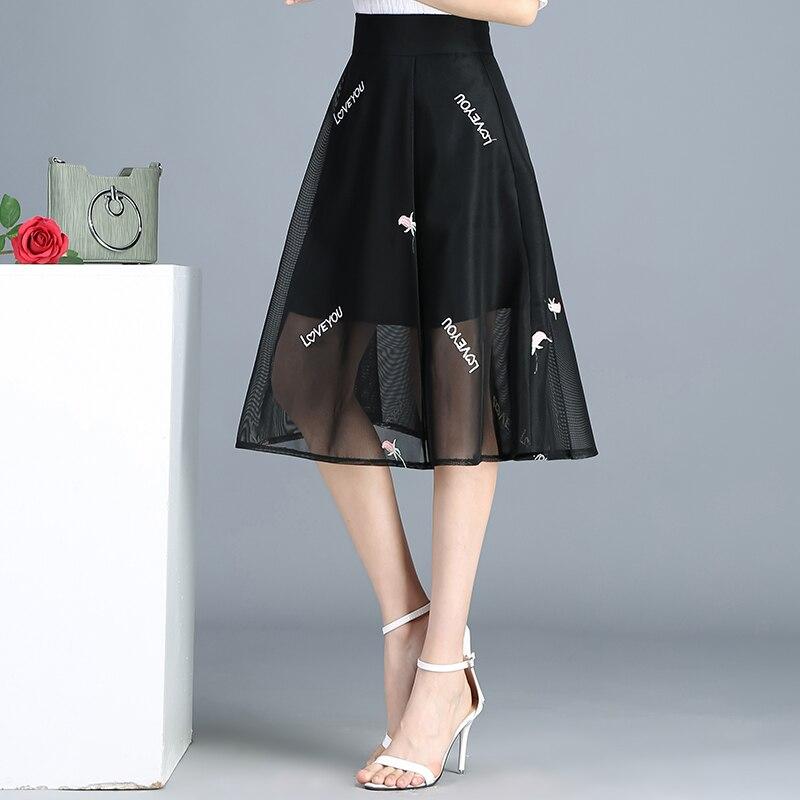 De Nuevo Alta Faldas Larga Mediados Tamaño Elástica Las Xl Carta Malla Bordado Nueva Una Falda Más Cintura Línea Xxxl Negro Mujeres 2019 4xl qw7tHnS