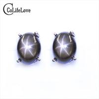 Simple Design Star Light Sapphire Stud Earrings 5 Mm 7 Mm Natural Star Light Silver Earrings