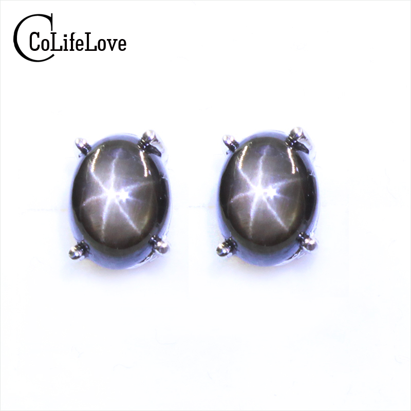 Simple design star light sapphire stud earrings 5 mm * 7 mm natural star light silver earrings solid 925 silver gemstone earring planet design gemstone stud earrings