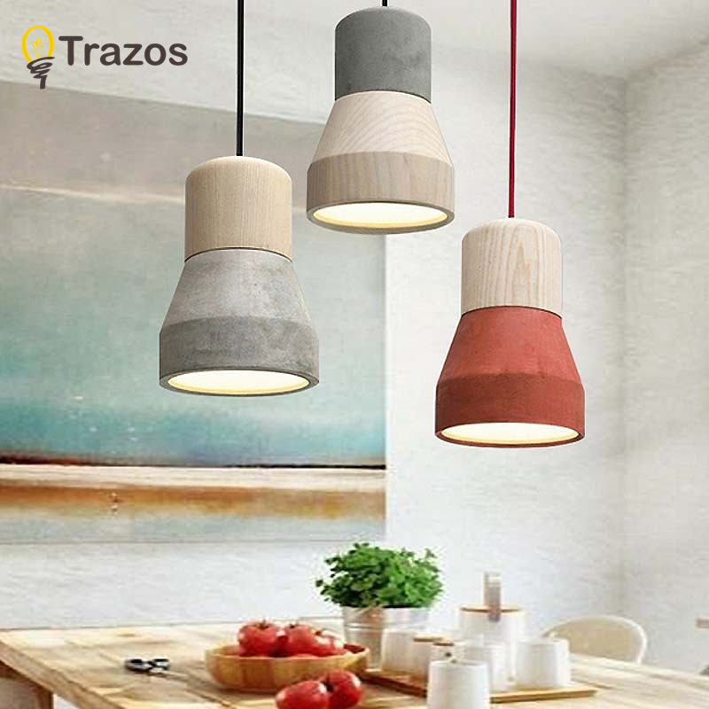 American Country Style simen Pendant Light 120cm wire E27 / E26 Socket Droplight 4 warna kayu indoor Decoration Hanging Lamp