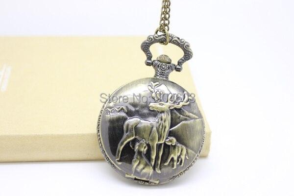 """1007) 12 шт/лот стимпанк стиль Олень карманные часы Подвеска Ожерелье, диаметр 1,7"""", цепочка 31,5"""""""