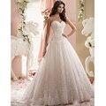 Nueva llegada 2015 de moda Celebrity sin tirantes blanca / de marfil botón volver tul de novia vestidos de novia vestido de bola vestido de noiva