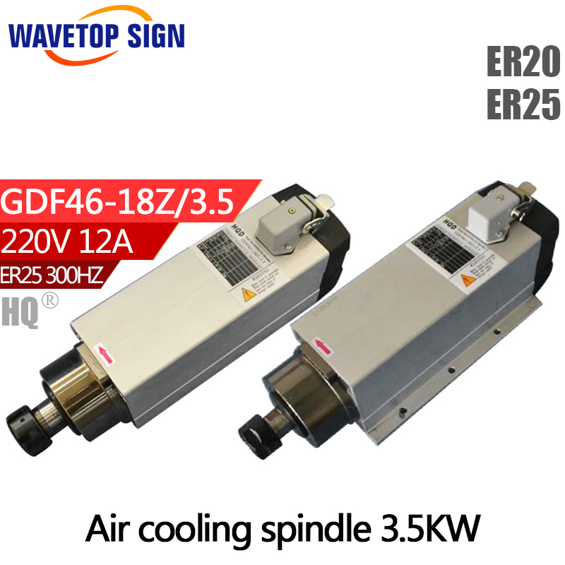 air cooling spindle 3.5kw GDF46-18Z-3.5 3.5kw 220V 18000rpm 12A 300HZ air cooling  chuck nut ER25 ER20 cnc dc spindle motor 500w 24v 0 629nm air cooling er11 brushless for diy pcb drilling new 1 year warranty free technical support