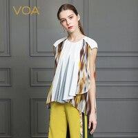 VOA Heavy Silk T Shirt Plus Size 5XL Women Tops White Tee Casual Summer Pullover Print