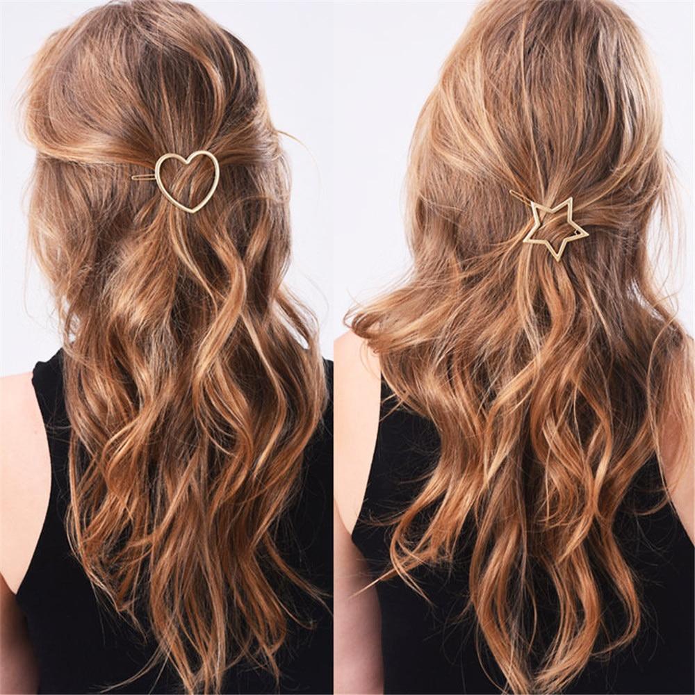 1 PC Women Hair Clips Hollow Heart Star Hairpins Girls Hairclip For Hair Style Hairgrip Ladies Hair Accessories korean   Headwear