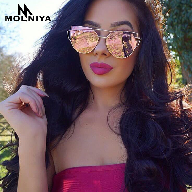 MOLNIYA Cat Eye Sunglasses Wanita Mewah Brand Designer Twin-Beam Rose Mirror Lens Sun Glasses For Female Lentes de sol UV400