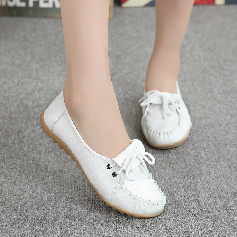 Summer Ballet shoes Genuine Leather Soft bottom Woman Flats Flexible Fashion Round Toe Nurse Casual Loafer Shoes for monther