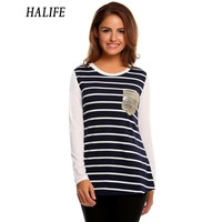 HALIFE Modo Delle Donne O-Collo Manica Lunga T-Shirt Top A Righe Patchwork Shiny Paillettes Tasche Tee Shirt Femme Polera Mujer 930
