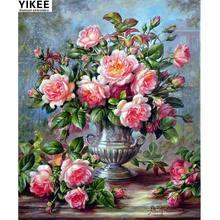 Yikee 5d алмазная живопись ваза цветы вышивка полностью квадратные