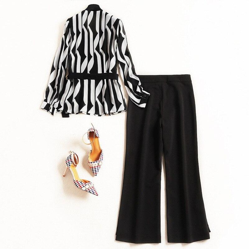 2019 Femmes Pour Conjunto 50321 Bureau Ensemble Cheville Noir V Costume Les Dame Pantalon Feminino longueur cou Mode De Shuchan cFZpT0KqZ