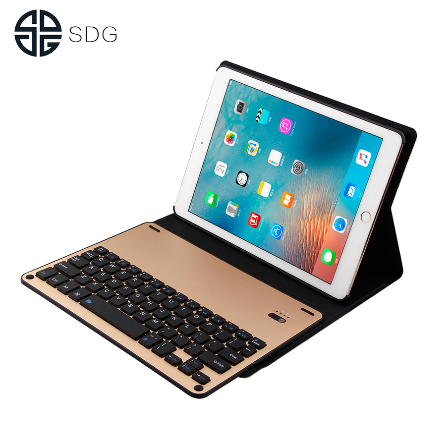 все цены на SDG Ultra Slim Bluetooth Keyboard For New iPad 2017 2018 9.7 W Stand Leather Case Cover For iPad Pro 9.7 tablet Keypad klavye онлайн