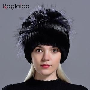 Image 5 - נשים ארנב פרווה כובע חורף חם אופנה ליידי כפת כובע שועל פרווה כובעים בעבודת יד סרוג כובע כובעי gorro כובעי LQ11143