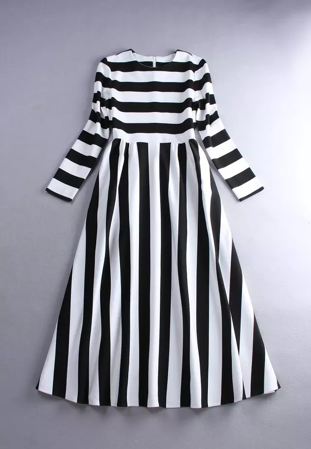Customize Made Women Spring Summer Plus Size 3XS 10XL Maxi Long Black and White  Striped Chiffon Dress Ladies Casual Dresses-in Dresses from Women s  Clothing ... 14e010d2a72d
