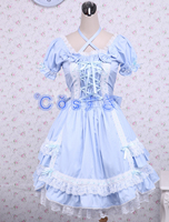 Free shipping! Newest! High - quality! Cotton Blue Short Sleeves Bow Lace Cotton Classic Lolita Dress