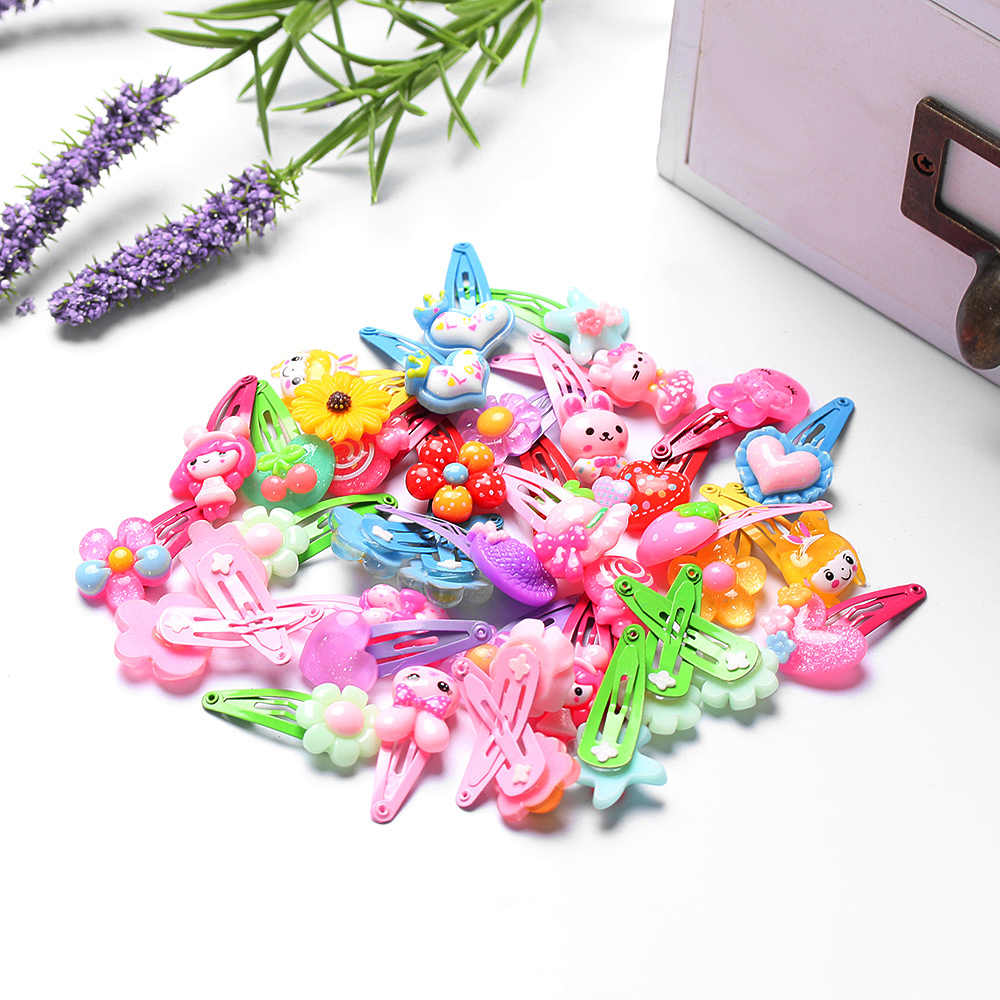 Random Color!! 10PC Cartoon Kids Baby Flower Butterfly Pattern Shaped Hairpins Lovely Hair Clips Jewelry Flower BB Girls Styling