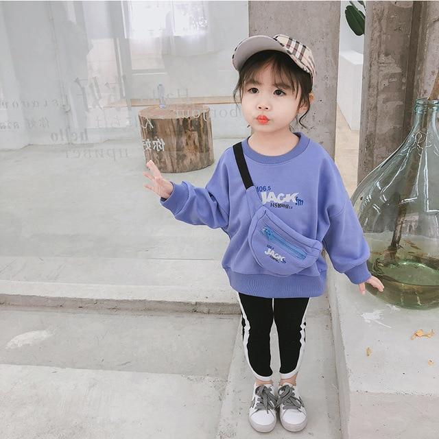 2019 frühling Neue Ankunft baumwolle koreanischen stil buchstaben gedruckt lange hülse hoodie mit tasche für nette mode süße baby mädchen