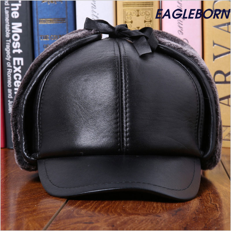 Winter real Leather Hat Man Baseball Cap with Earflaps Hats Woolen Thicken Protective Ear Hat Russia Stylish