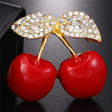 1Pc Trendy Fruits Banquet Pins Brooch Men Women Red Cherry Clothes Rhinestone Brooch Jewlery