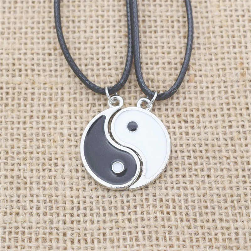 Kobiety mężczyźni Choker naszyjnik emalia Yin Yang wisiorek naszyjniki biżuteria najlepszy przyjaciel dla przyjaciół Collares Collier Collar naszyjnik