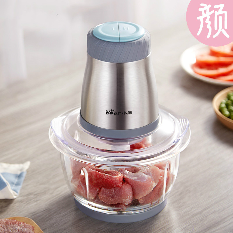 Bear Portable Multi Stainless Steel Electric Meat Grinders 1.2L 200W Thickened Glass Copper Engine Blenders Mixers Meat Cutter bear portable electric meat grinders 2l 300w 2 gears glass mini blenders 4 blades copper engine meat cutter kitchen appliances